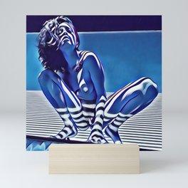 9118s-KMA_5209 Blue Nude Striped Figure Looking Down Abstract Fine Art Nude Mini Art Print