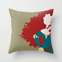 merida Throw Pillows featuring Merida by Dewdroplet
