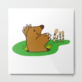 a Mole from the ground greets horsetail Metal Print