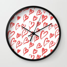 Red hearts seamless pattern Wall Clock