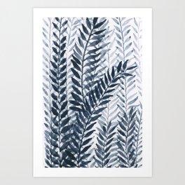 Blue Leaves Watercolor Art Print