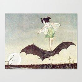FAIRY GIRL RIDING A BAT - IDA RENTOUL OUTHWAITE Canvas Print