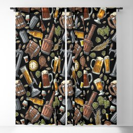 Beer Makes The World Go Round - Black Pattern Blackout Curtain