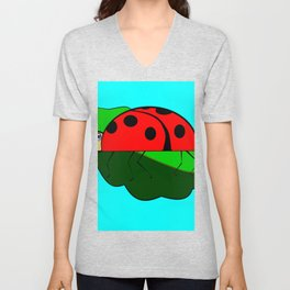 A Ladybug on a Leaf Unisex V-Neck
