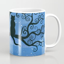 Meowing at the moon - moonlight cat painting Coffee Mug