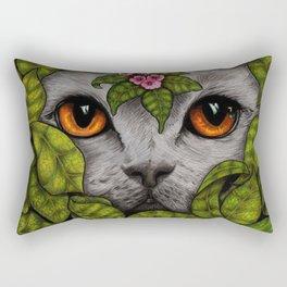 Grey Cat Orange Eyes Green Leaves Rectangular Pillow
