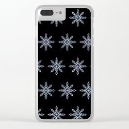 Celestial Snowflake Midnight Version (Blues and Purples) Clear iPhone Case