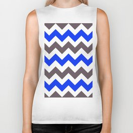 Blue Nebulas and Grey ZigZag Chevron Pattern Biker Tank