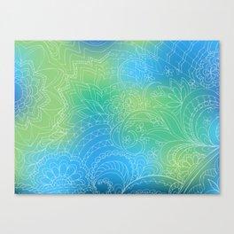transparent white zen pattern blue gradient Canvas Print