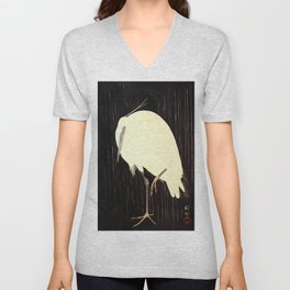 Koson Ohara - White Heron standing in the Rain - Japanese Vintage Ukiyo-e Woodblock Painting Unisex V-Neck