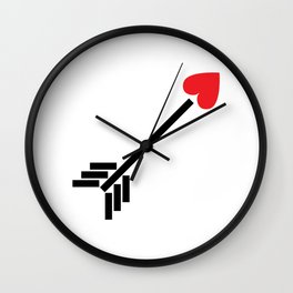 Red Heart Arrow Wall Clock