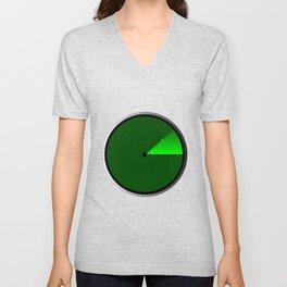 Radar Screen With A Green UFO Dot Unisex V-Neck