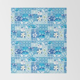 New Hawaiin Motif in Blue Throw Blanket