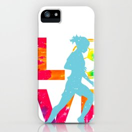 LOVE feminine Soccer Funny Psychedelic and Tie Dye design graphic iPhone Case
