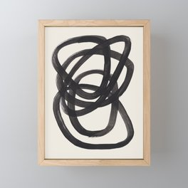 Mid Century Modern Minimalist Abstract Art Brush Strokes Black & White Ink Art Spiral Circles Framed Mini Art Print
