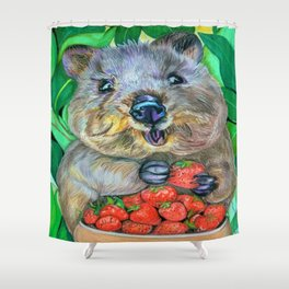 Quokka with Strawberries  Shower Curtain