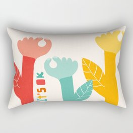 OK Flower. Positive Summer Vibes. Human Hands Rectangular Pillow