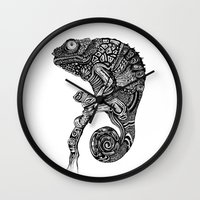 chameleon Wall Clocks featuring Chameleon  by Rebexi