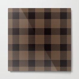 Mocha Brown Gingham Plaid Pattern Metal Print