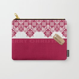 Merry Christmas ! Red lace pattern .Gift . Carry-All Pouch