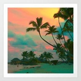 Tahitian Sunset  Photo Coral and Teal Art Print