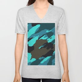 green blue and black painting abstract background Unisex V-Neck