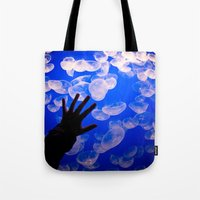 the life aquatic Tote Bags featuring Life Aquatic by Michelle Fay