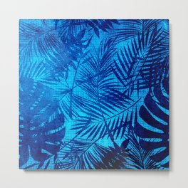 Turquoise Teal Palm Leaves Pattern Metal Print