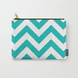 Large chevron pattern / tiffany blue Carry-All Pouch