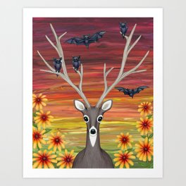 white tailed deer, bats, black eyed susans Art Print