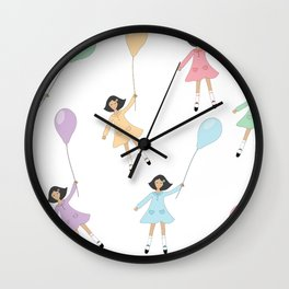 Girls flying with balloons seamless background Wall Clock