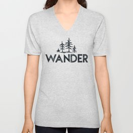 WANDER Forest Trees Black and White Unisex V-Neck