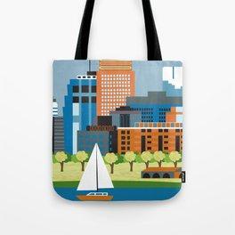 Minneapolis, Minnesota - Skyline Illustration by Loose Petals Tote Bag