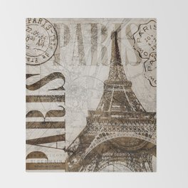 Vintage Paris eiffel tower illustration Throw Blanket