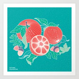 Oranges and Acorns with leaves Art Print