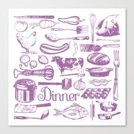 Retro Dinner - White Canvas Print