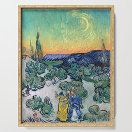Couple Walking among Olive Trees, Vincent Van Gogh Serving Tray