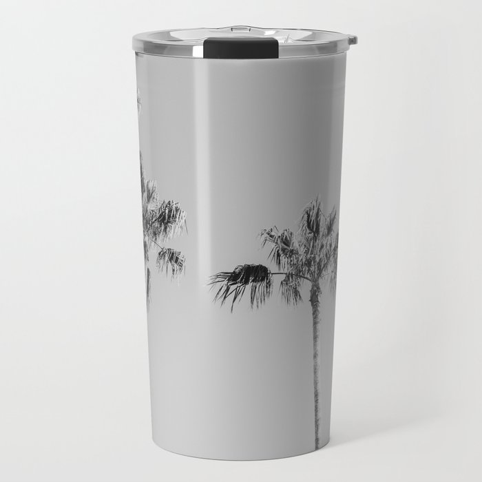 Black Palms // Monotone Gray Beach Photography Vintage Palm Tree Surfer Vibes Home Decor Travel Mug