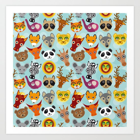 pattern with funny cute animal face on a blue background Art Print