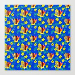 Surfboards And Tiki Mask Pattern Canvas Print