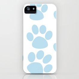 Puppy Paw Prints Blue iPhone Case