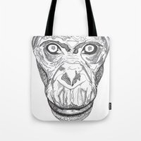 ape Tote Bags featuring Ape by Eugene Lee