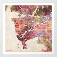 vancouver Art Prints featuring Vancouver by MapMapMaps.Watercolors