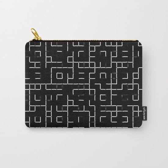 Maze - Black and white, abstract, maze pattern Carry-All Pouch