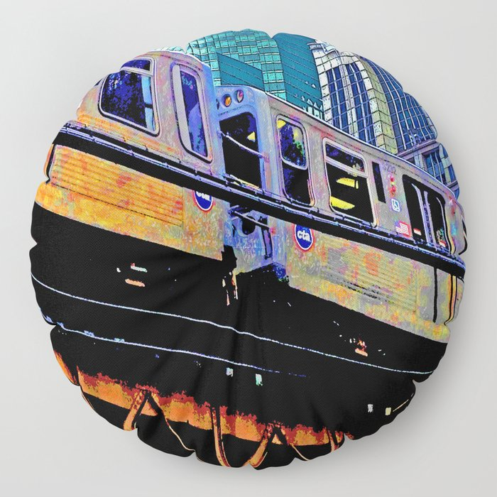 Chicago 'L' in multi color: Chicago photography - Chicago Elevated train Floor Pillow