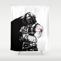 winter soldier Shower Curtains featuring Winter Soldier by Irene Flores
