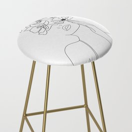 Minimal Line Art Woman with Flowers Bar Stool