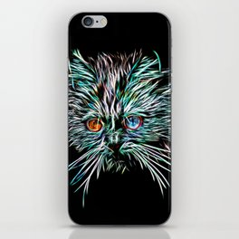 Odd-Eyed White Glowing Cat iPhone Skin