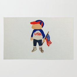 Toddlers Fourth of July Parade Watercolor Painting Rug