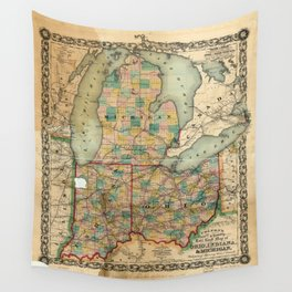 Map of Ohio, Indiana & Michigan (1859) Wall Tapestry